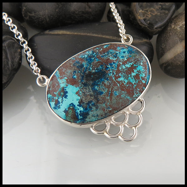 Silver Azurite Pendant with Fish Detail