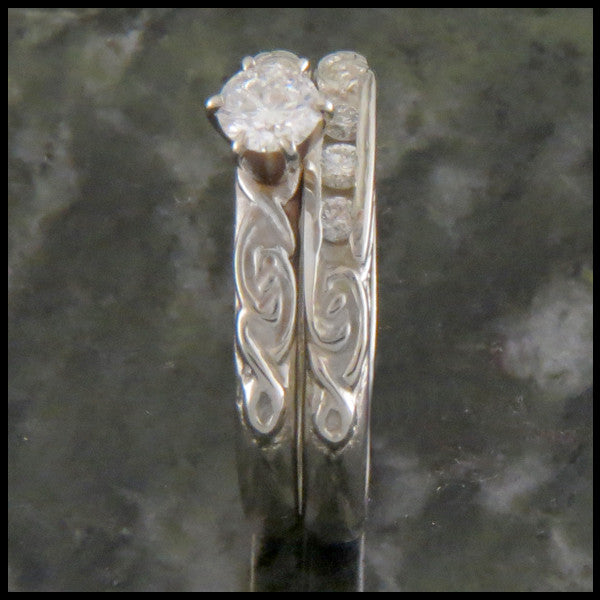 Simple Celtic Knot Diamond Wedding Ring Set