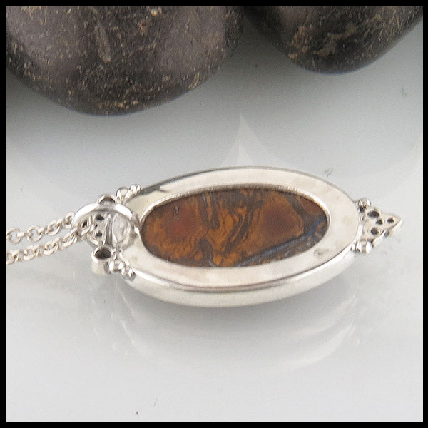 Boulder Matrix Opal Pendant in Silver with Diamonds