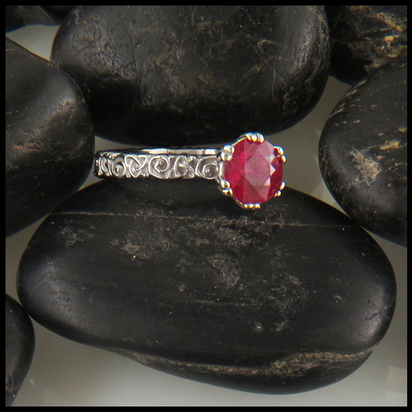 Ruby Solitaire on a Trinity Scroll Band in 14K White Gold