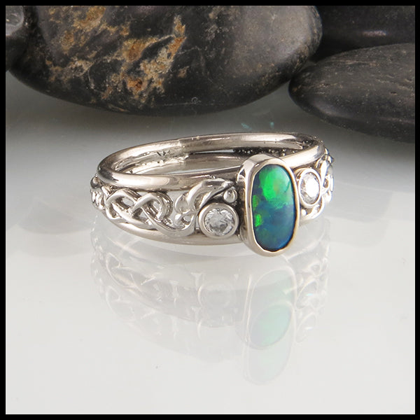 Black Opal and Diamond Frame Ring in 14K White Gold