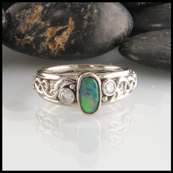 Black opal frame ring