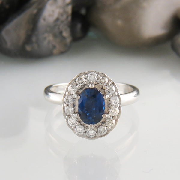 Custom Sapphire and Diamond Halo Ring
