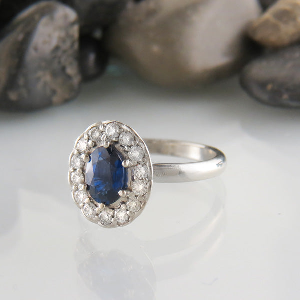 Oval Blue Sapphire and Diamond Classic Scalloped Halo