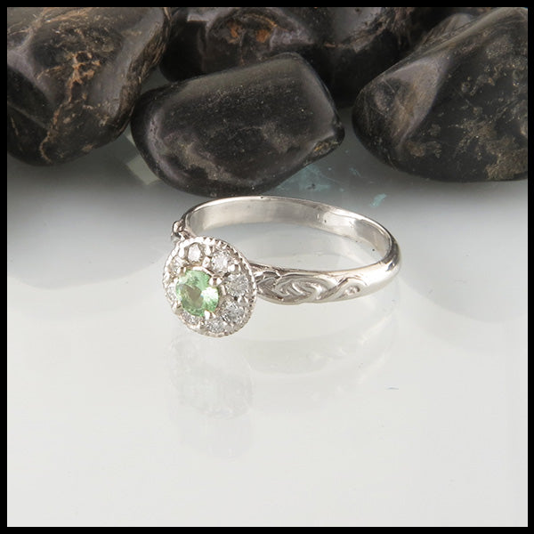 Mint Garnet and Diamond Halo Engagement Ring