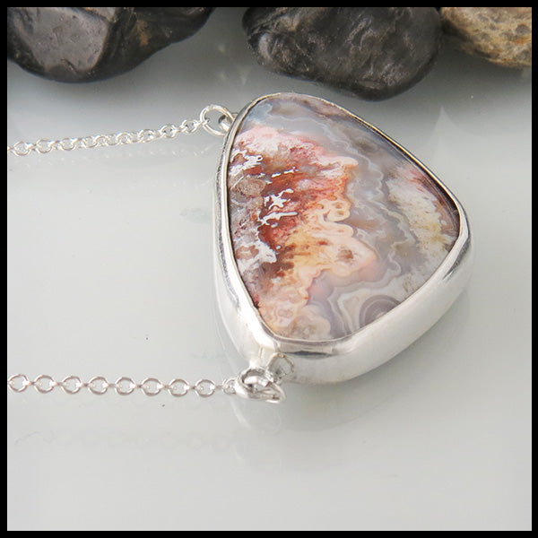 Simple Crazy Lace Agate Pendant in Sterling Silver