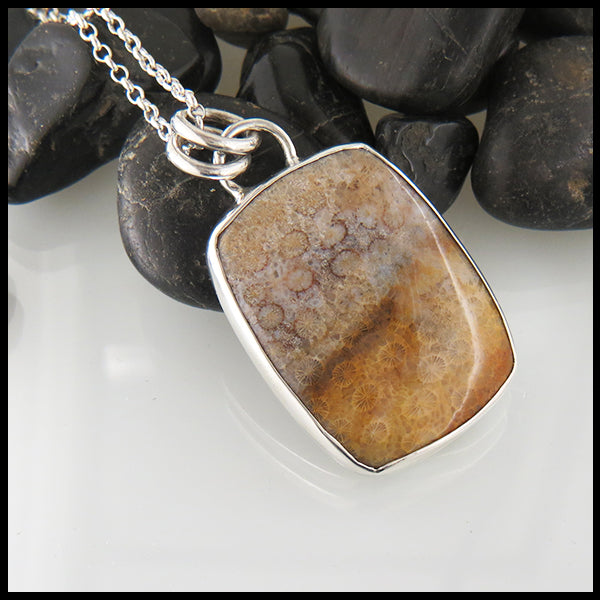 Fossilized Coral Pendant in Sterling Silver