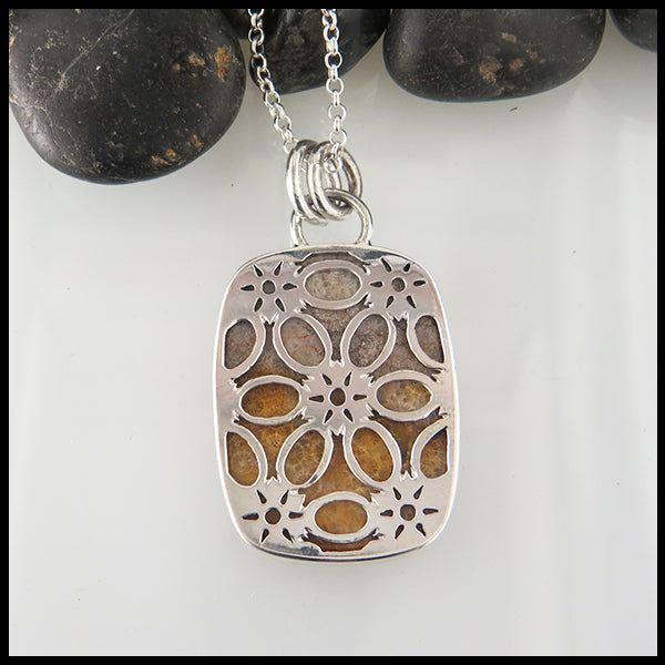 Fossilized Coral Pendant in Sterling Silver with flower detail