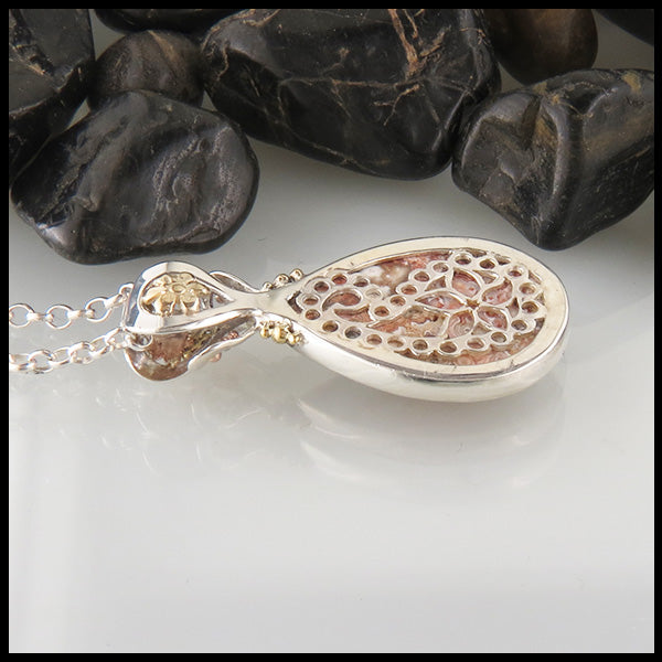 Crazy Lace Agate Paisley and Flower Pendant