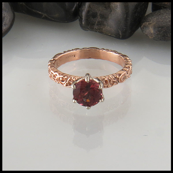 Raspberry Garnet Trinity Scroll Ring in Rose Gold
