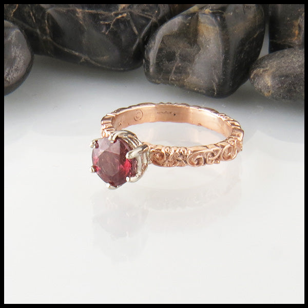 Rhodolite Garnet Trinity Scroll Ring in Rose Gold