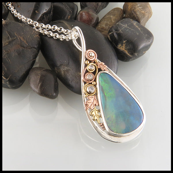 Custom Opal Pendant in Sterling Silver & Gold