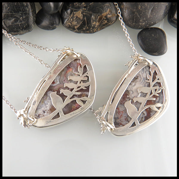 Mother and Baby Birds Crazy Lace Agate Pendant