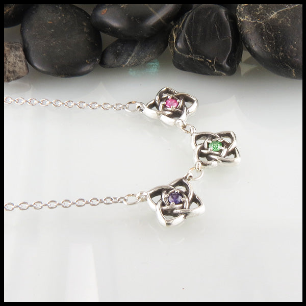 Mother's Celtic Starlight Birthstone Necklace