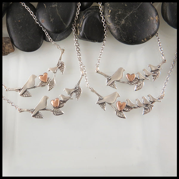 Silver Mother Bird and Baby Bird Necklace with Rose Gold Heart