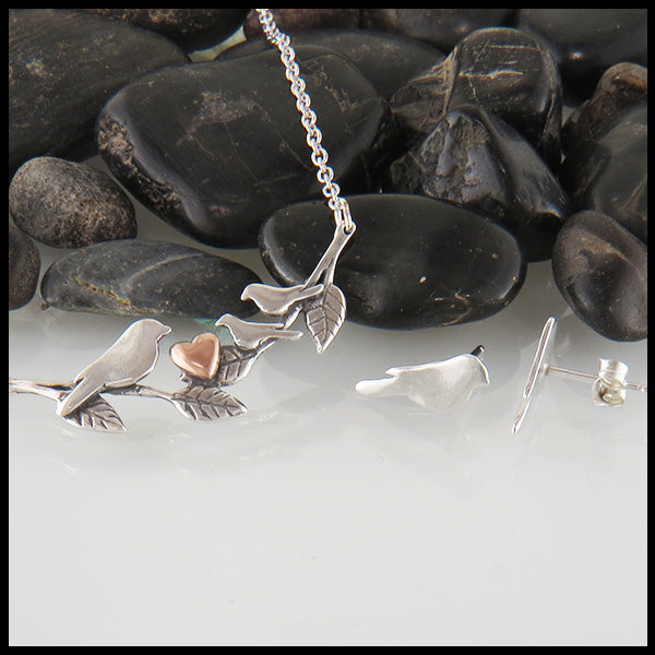 Mother Bird Earring and Pendant Set