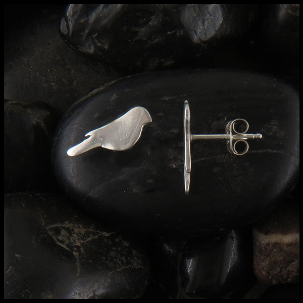 Bird Post Earrings in Sterling Silver