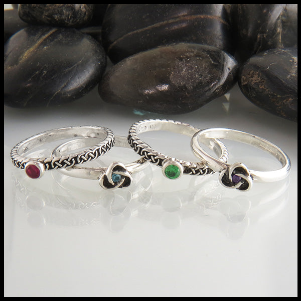 celtic knot birthstone stacking rings