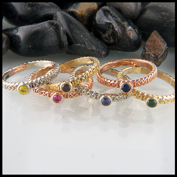 Josephine's Knot Birthstone Stacking Ring in Gold