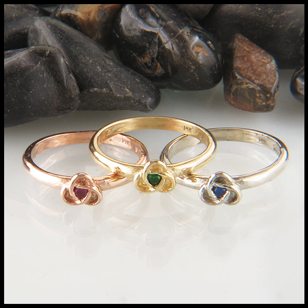 Trinity Knot Birthstone Stacking Ring in Gold