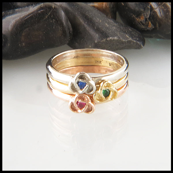 14K Trinity Knot Stacking Birthstone Ring