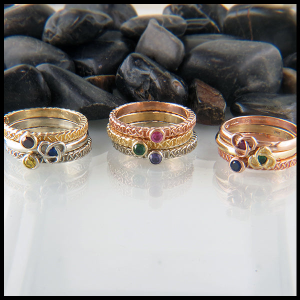 Stacking Birthstone Rings in 14K Gold with Celtic Trinity Knot