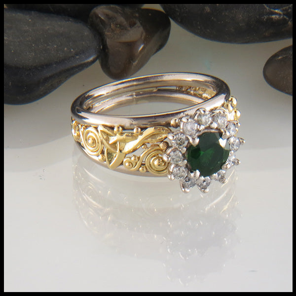 Tsavorite Halo Knotwork Ring