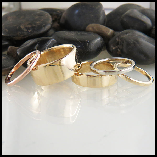 Handcrafted 14K Yellow, White, and Rose Gold Bands by Walker Metalsmiths