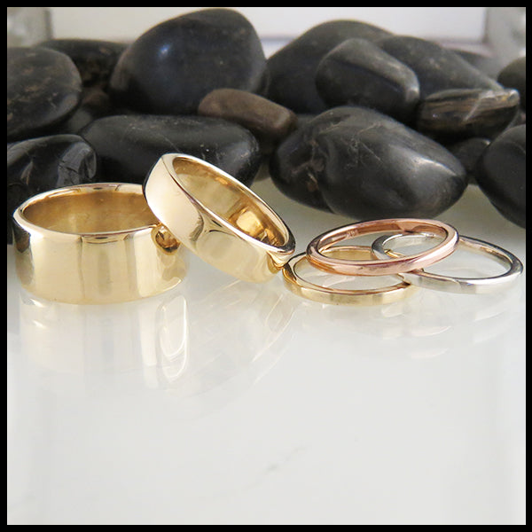14K Plain Bands handcrafted by Walker Metalsmiths