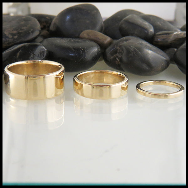 14K Plain Gold Rings custom designed by Walker Metalsmiths