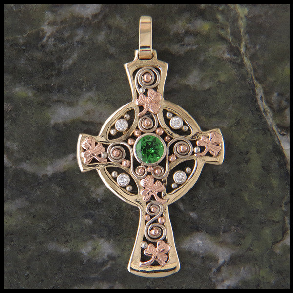 Custom Celtic Cross Pendant in 14K Yellow, Rose and White Gold with Tsavorite