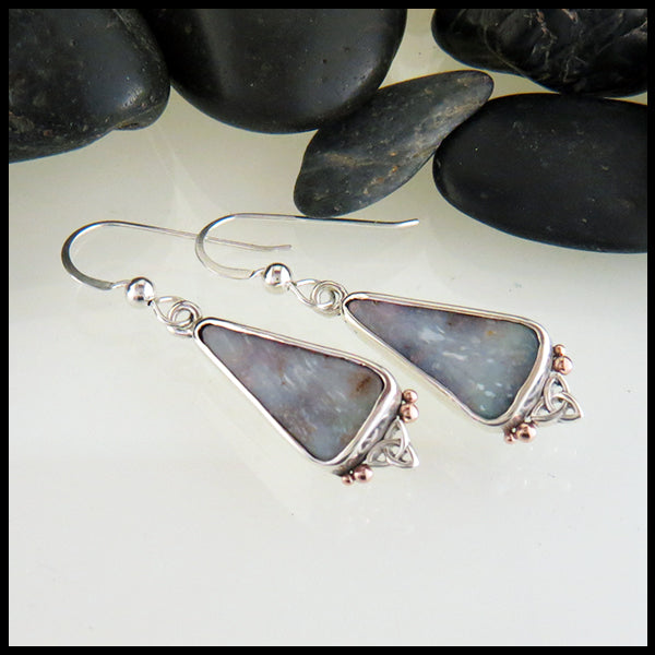 Custom Opal Earrings in Sterling Silver and Rose Gold