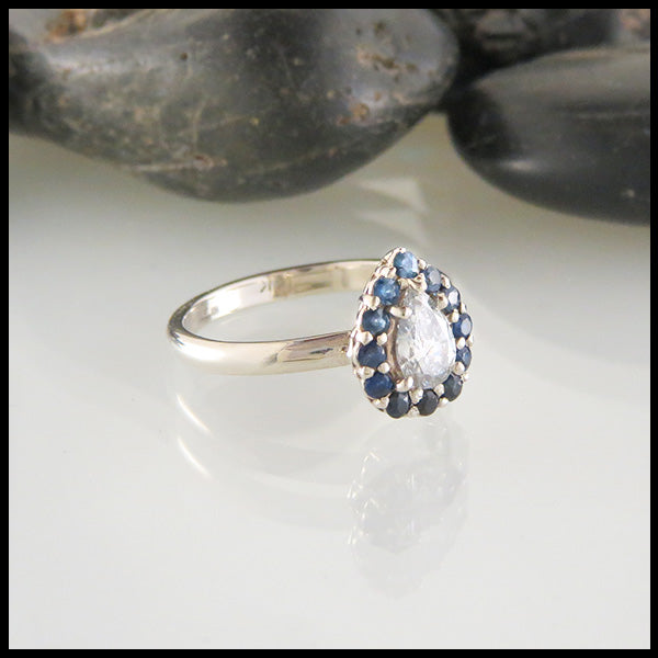 14K White Gold Band with Diamond and Sapphires