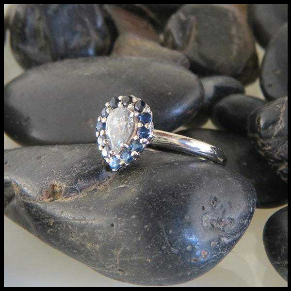 Diamond and Sapphire Ring in White Gold