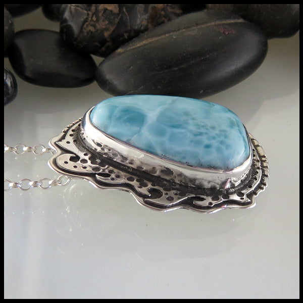 Waves Ocean Pendant with Larimar