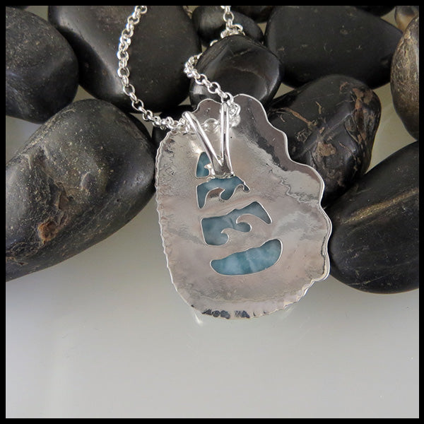 Sterling Silver Ocean Waves Necklace with Larimar