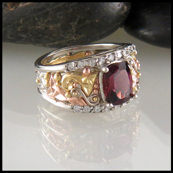 Rhodolite Garnet Ring with Diamond Rails