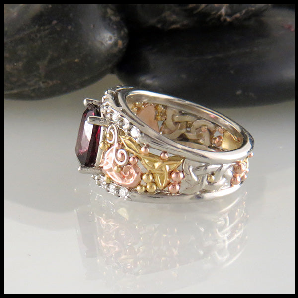 14K Frame Ring in White, Yellow, and Rose Gold