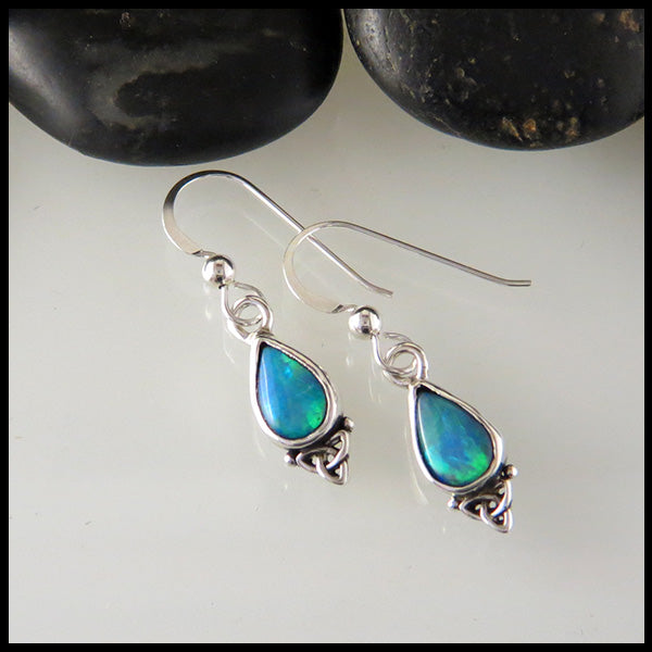 Opal Doublet Drop Earrings in Sterling Silver
