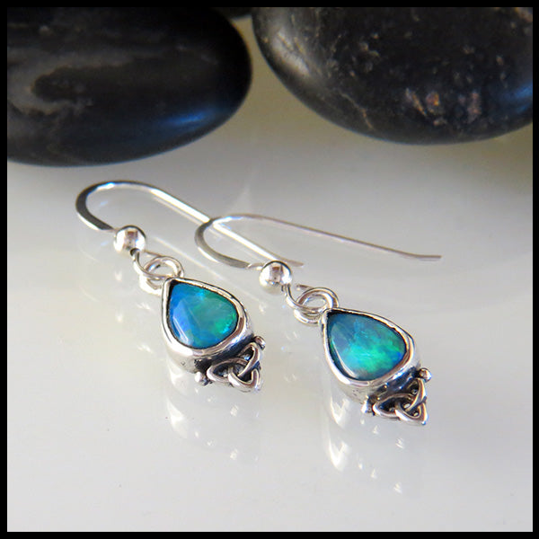 Opal Doublet Sterling Silver Drop Earrings