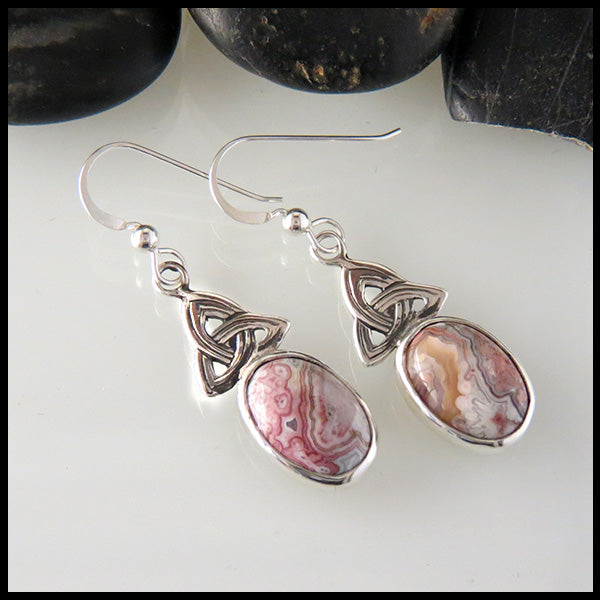 Sterling Silver Celtic Trinity Knot Earrings Set With Crazy Lace Agate