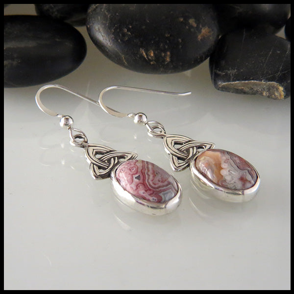 Crazy Lace Agate and Trinity Knot Drop Earrings