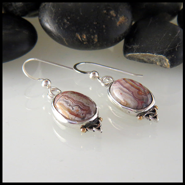 Crazy Lace Agate Earrings in Sterling Silver with Trinity Knot