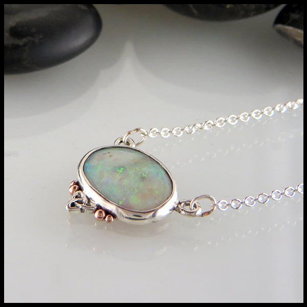 White Opal Pendant in Sterling Silver & Rose Gold