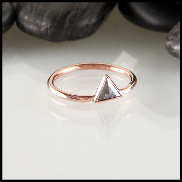 Salt and Pepper Triangle Diamond Stacking Ring in Rose Gold