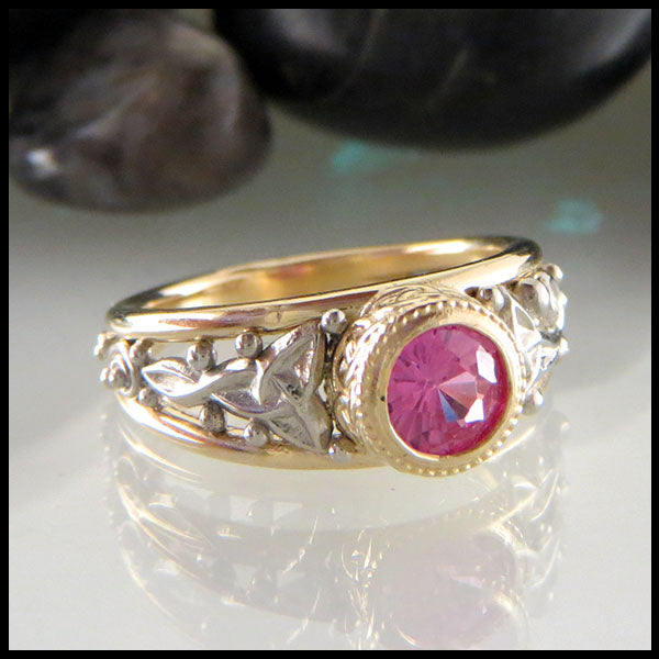 Pink Sapphire Custom Ring in 14K Yellow & White Gold