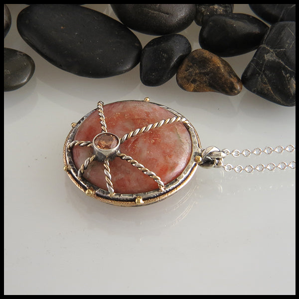 Two tone sunstone pendant
