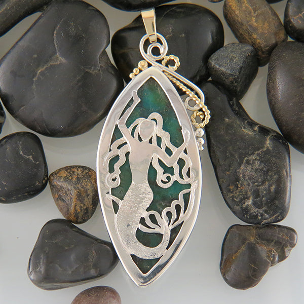 Marquise Turquoise Pendant in Silver and Gold