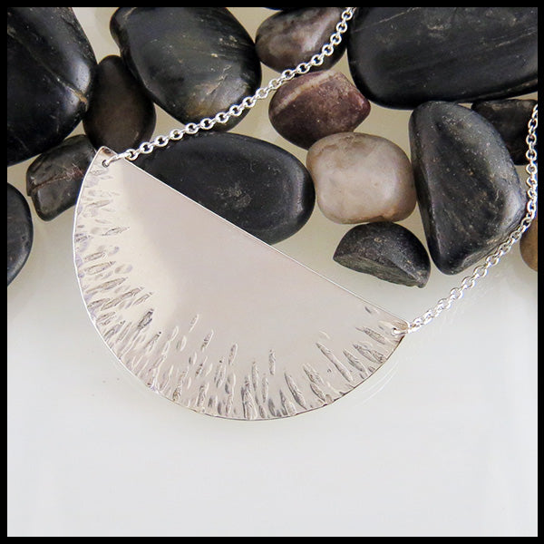Large half-moon silver necklace