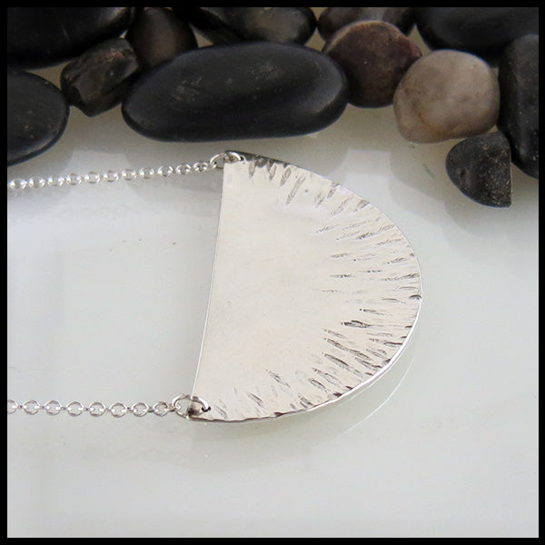 Large half circle silver necklace
